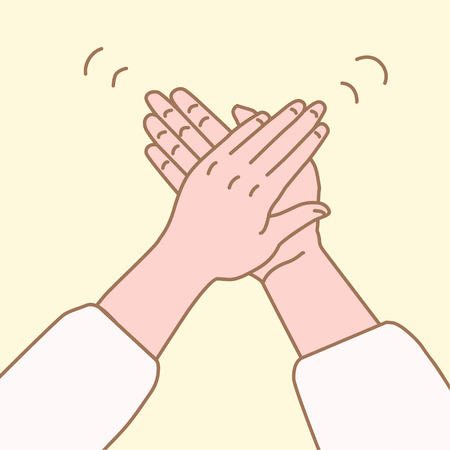 vector illustration of hand clap in a simple drawn linear style.Clap your hands gesture.applause hands.Applause hands in hand drawn style.