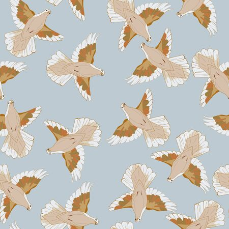 Seamless pattern made with flying pigeons. White, beige pigeons in motion - fly.
