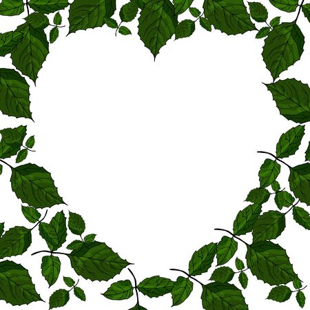 Postcard heart made of leaves for valentines day or wedding