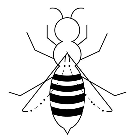 Wasp vector icon, wasp sign in black flat shape design.