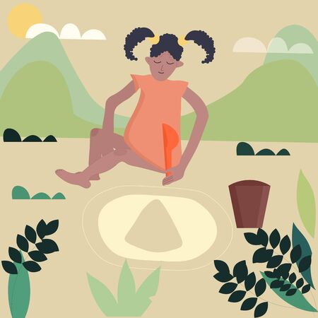 Cute little african american girl playing with sand at a leisure park. Happy kids outdoors on summer vacation vector illustration.