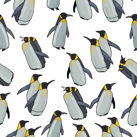 Pattern of penguins on a white background