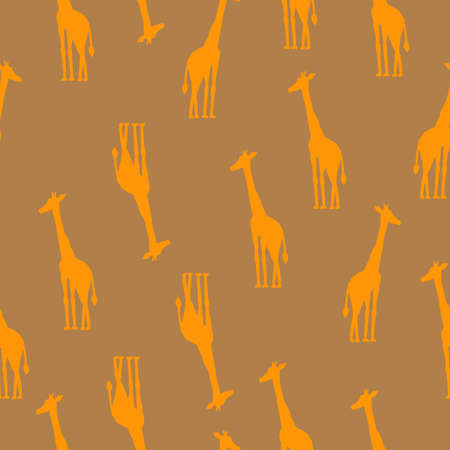 Pattern of giraffes on a beige background, Vector seamless colorful illustration