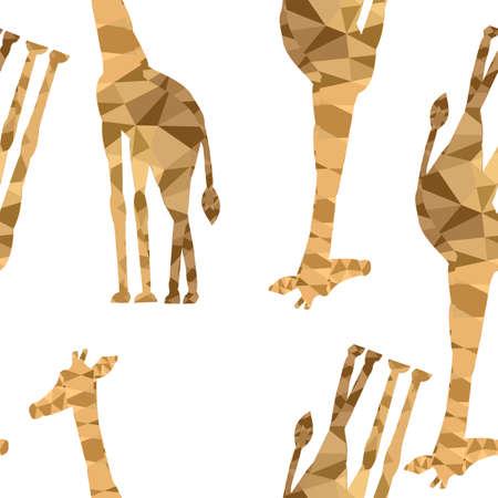 Pattern of giraffes on a beige background Vettoriali