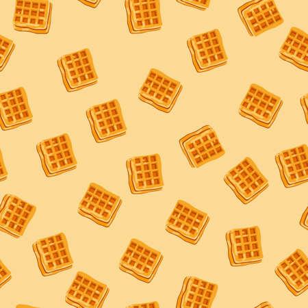 endless Tasty waffle pattern on an orange background Ilustración de vector