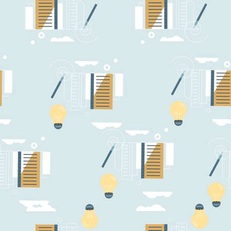 endless pattern of cityscape, light bulbs, pencil on a white background