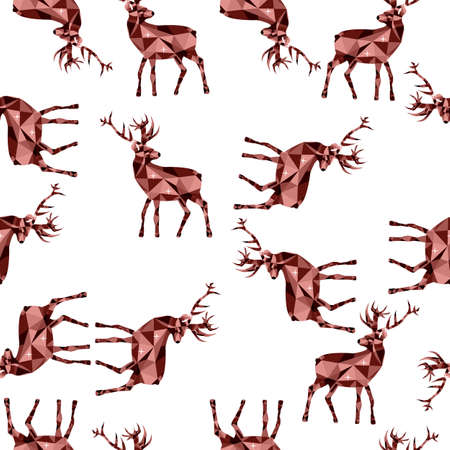 Deer endless pattern on white background in Low poly style Ilustracja