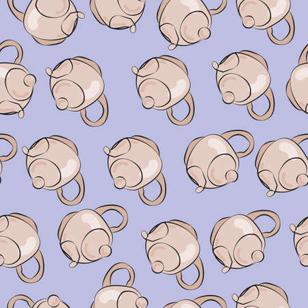 cozy pattern of teapots on a blue background