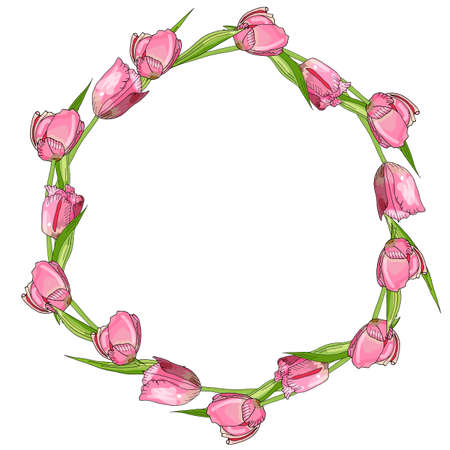 Detailed contour wreath with tulips isolated on white
