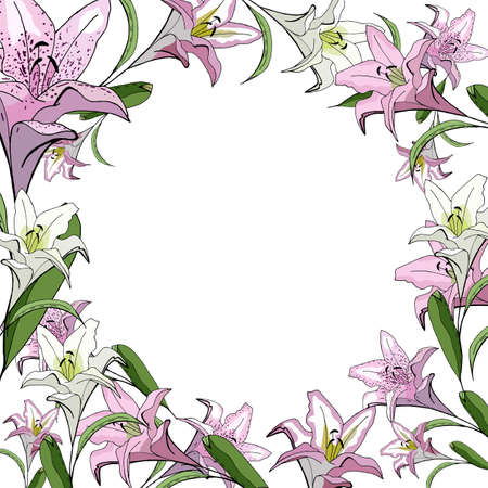 Floral square card with stylized lilies on a white background.