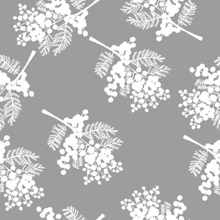 seamless pattern with spring delicate flowers - mimosa on a gray background