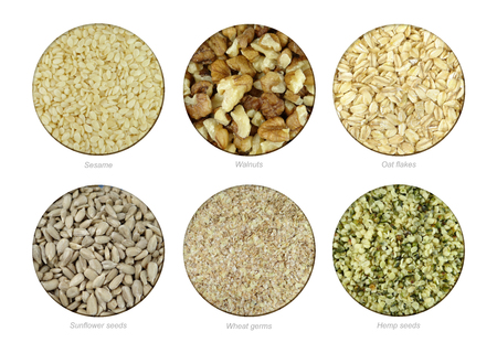 Set of Sesame, Walnuts, Oat flakes, Sunflower, Wheat germs and Hemp seeds