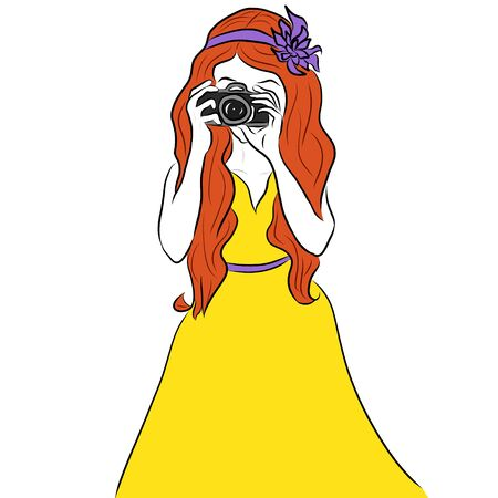 redhair: Beautiful photographer girl in yellow dress and purple flower headband on head holding photo camera. Drawing. Stock Photo