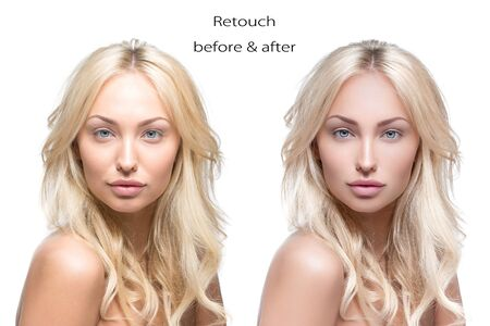 labios sensuales: Beautiful young woman. Before and after retouch comparison.