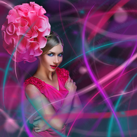 sexy young woman: Beautiful young woman with colorful lines and big pink flower on head. Over dark background.