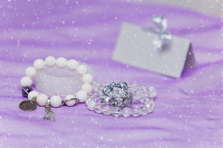 bijoux: Beautiful set of bridal accessories made from natural stones. Rock crystal and agate bracelets. Copy space.