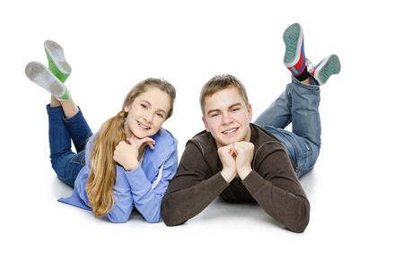 habbit: Teen boy and girl taking selfie photo