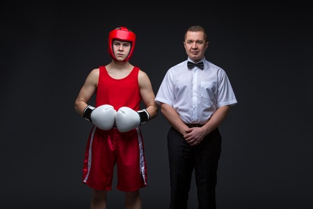 Referee and boxing sportsman Stock Photo
