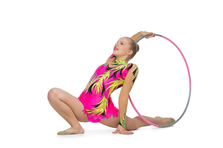 Beautiful teenage gymnast girl Stock Photo