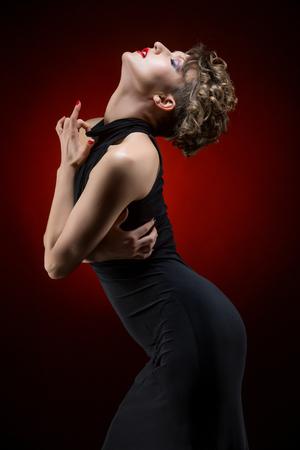 sexy girl dance: girl dancer in tango dress Stock Photo