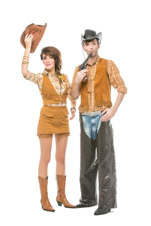 boy and girl looking like dolls Stock Photo