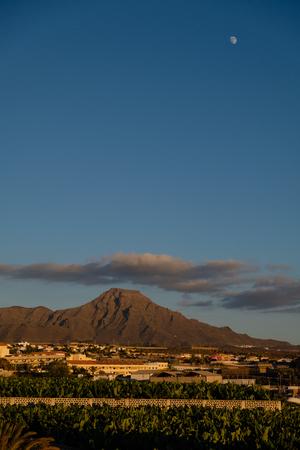 view on volcanic heels on tenerife. sunset sun. outdoor shot.