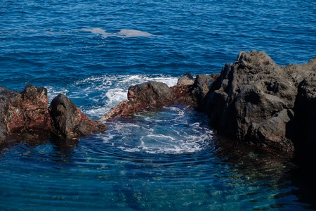 natural ocean swimming pools on Tenerife island. outdoor shot in Spain. copy space. Stock Photo