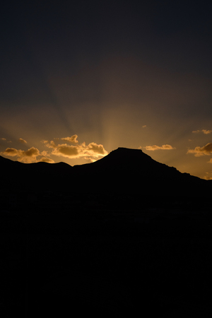 beautiful sunrise over vulcanic mountain on Tenerife. outdoor shot. copy space.