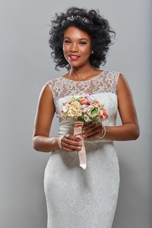 beautiful dark skin bride Stock Photo