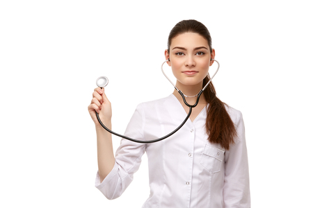 woman doctor with stethoscope isolated on white