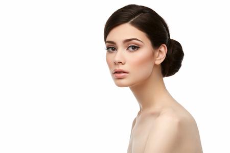 beautiful girl with hairdo isolated on white Stock Photo