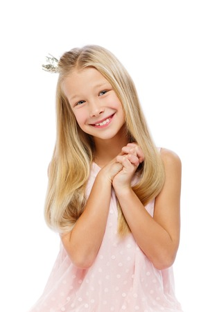 happy beautiful girl with crown on head Stock Photo