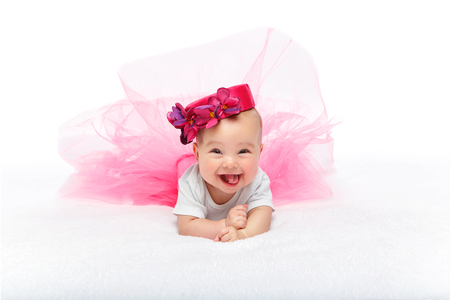 happy beautiful baby girl with pink hat on head Stock fotó - 112240229