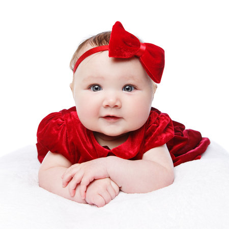 beautiful  little baby girl in red dress