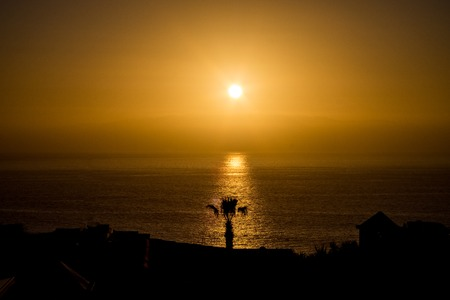 beautiful view on la gomera island and sky while sunset. outdoor shot on Tenerife . Copy space.