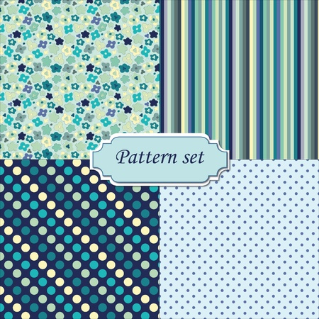 A set of four seamless patterns