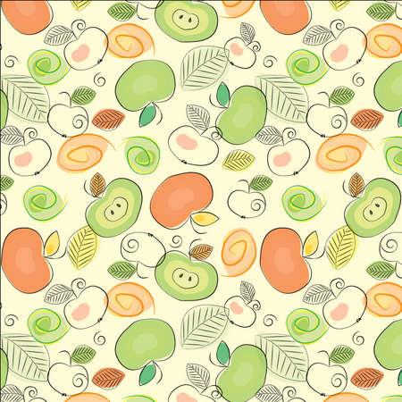 Cartoon apples seamless background Vector