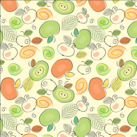 Cartoon apples seamless background Vector
