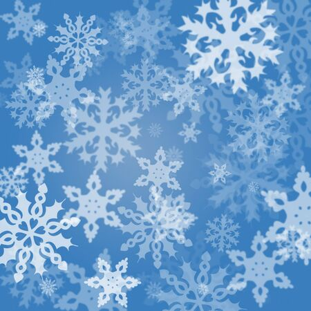 absract: White different absract snowflakes background on blue
