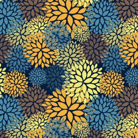 Floral seamless pattern within Van Gogh color