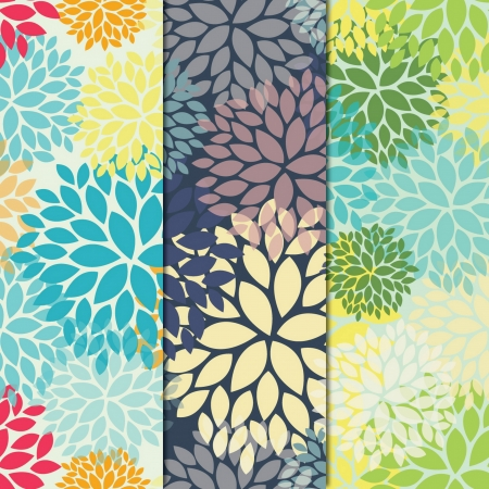 Group of three floral seamless pattern Illustration