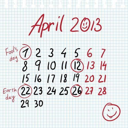 Calendar 2013 april in sketch style on notebook sheet with marked earth day and fools' day Vector