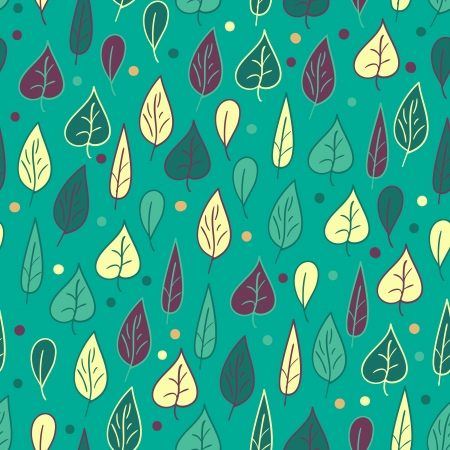 Seamless pattern with leaves on turquoise background within green, turquoise, yellow and purple colors Vector