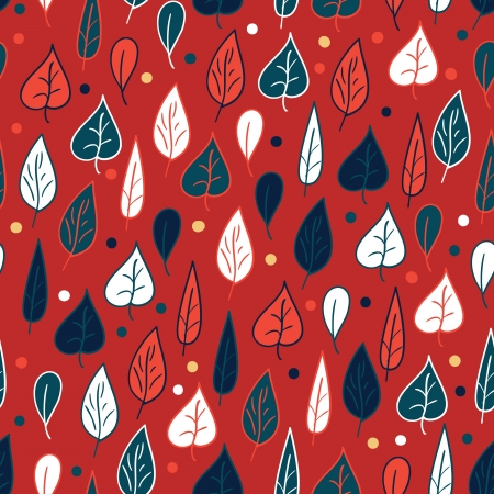 Seamless pattern with leaves on red background within red, blue and white colors