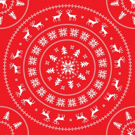 Circle ornament with winter sweater design - deer, snowflake and christmas tree Vector