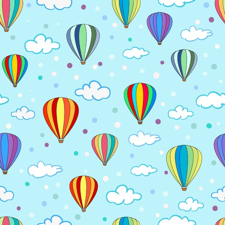 Seamless hot air balloon pattern with clouds Vector