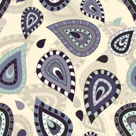 Seamless pattern with paisley ornament in cream, blue and purple color Vector