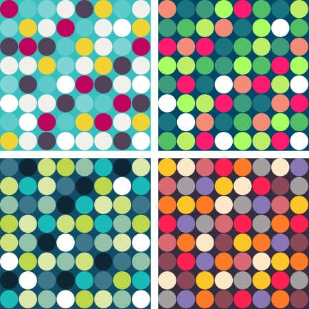 Set of 4 colorful vector seamless patterns, polka dot. Illustration