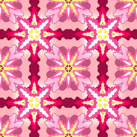 Abstract seamless ornamental pattern in pink and yellow colors Vector