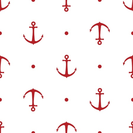 Seamless vector pattern with anchors and dots Illustration